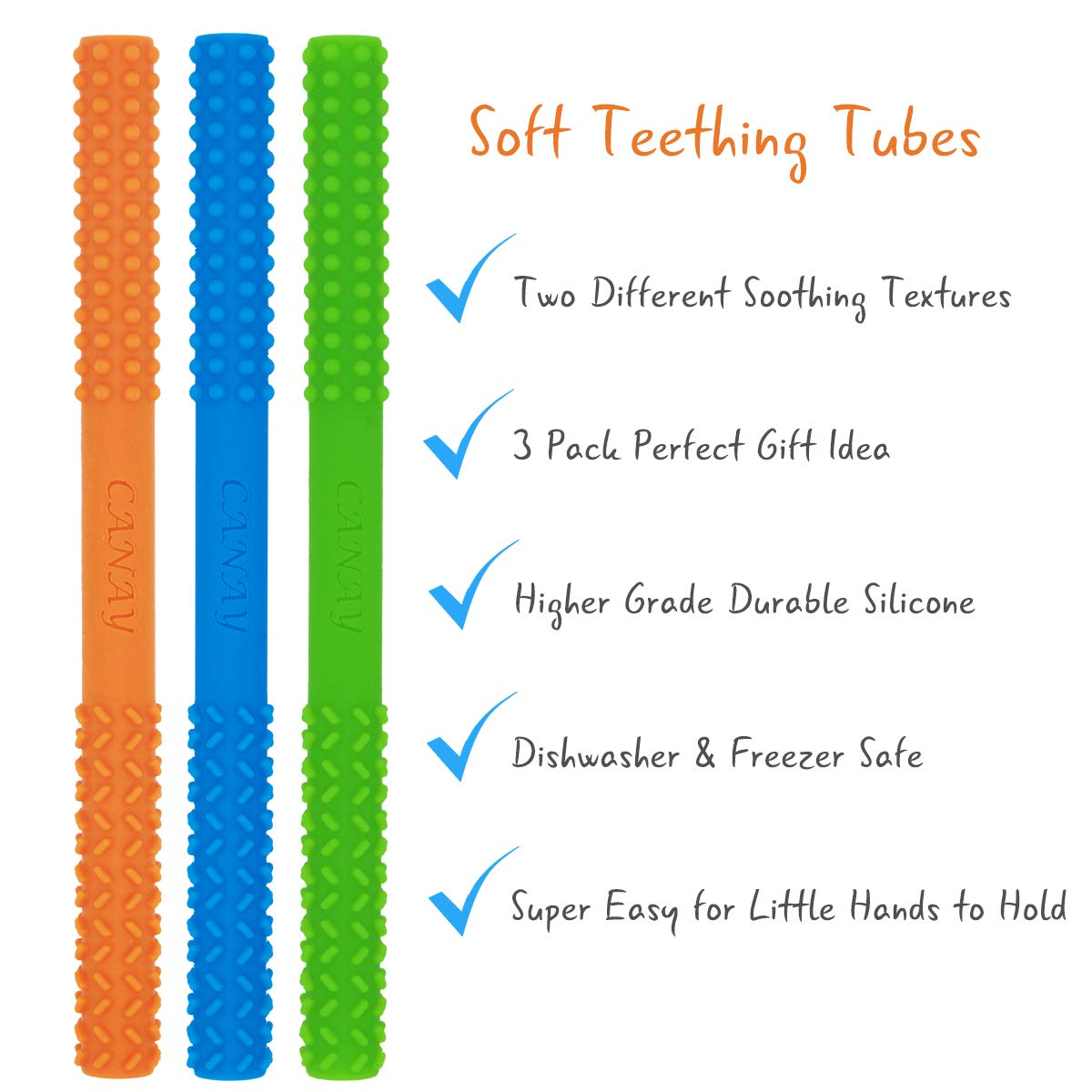 Teething Toys for Babies 0+ Months BPA Free//Freezer Safe//Dishwasher Safe Y Baby Teethers Hollow Teething Tubes