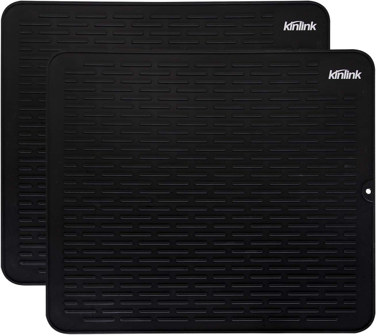 "Kinlink 2 Pack Silicone Dish Drying Mats - 17.7"" x 15.7"" Large Dishwasher Safety Counter Pad, Black"
