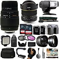 Opteka 6.5mm + 70-300mm Lens with 128GB and i-TTL Flash for Nikon D5500, D5300, D5200, D5100, D3400, D3300, D3200 and D3100 Digital SLR Cameras