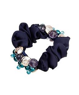 Femme Satin Elastiques Chouchou à Cheveux pour Coiffure de Queue de Cheval - Bleu Royal
