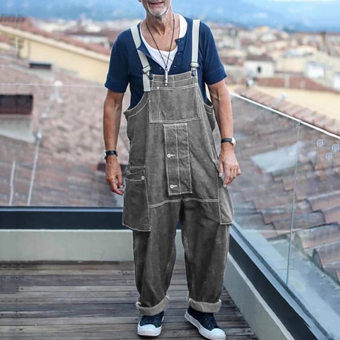 papasgix Herren Overalls Retro Latzhose Lang Einfarbrig Jumpsuit Mode Lose Denim Jeans Sommer Herbst Oversize Jeanshose Jumpsuit Overalls