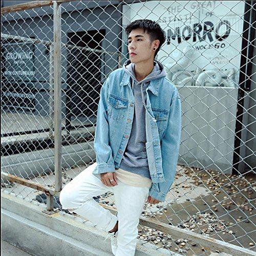 DUUMY printemps Slim veste en jean casual veste rétro étudiant à manches longues veste chemise pour hommes , xl , blue