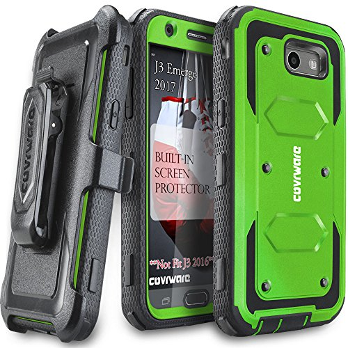 Samsung Galaxy J3 Emerge/J3 Prime/J3 Eclipse/Express Prime 2/Luna Pro/Amp Prime 2/Sol 2 Case, COVRWARE [Aegis Series] Built-in [Screen Protector] Heavy Duty Rugged Holster [Belt Clip][Kickstand] Green (Green Screen Case)