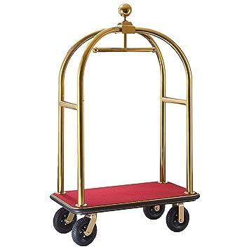 Hotel carritos de equipaje color: oro, color (revestimiento): rojo: Amazon.es: Hogar