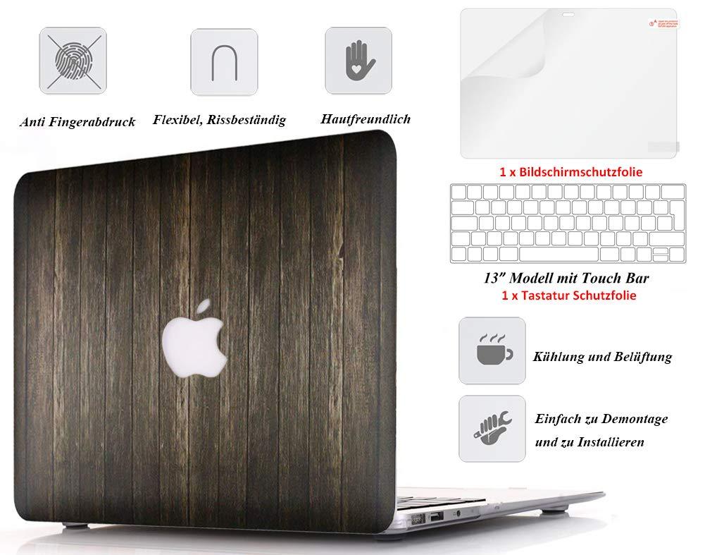 Holzmaserung 06 mit Tastaturabdeckung und Bildschirmschutz Kricson H/ülle f/ür MacBook Pro 13 2017 /& 2016 Holz Ultrad/ünne Schutzh/ülle f/ür 13,3 Zoll A1706 A1708 mit//ohne Touch Bar /&Touch ID
