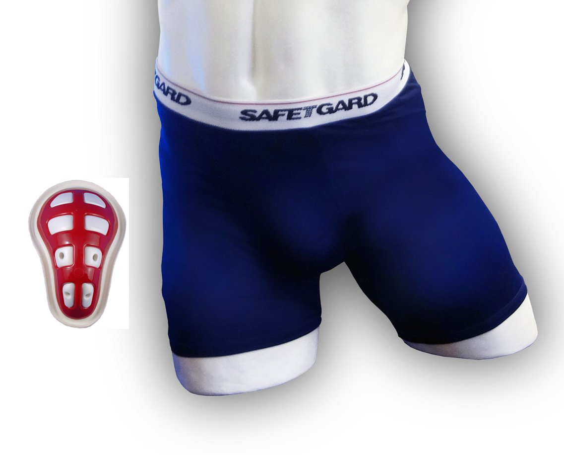 SafeTGard Boys Youth Regular Sliding Short with Youth Cage Cup (Navy Blue Short) by Safe-T-Gard