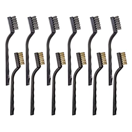 Amazon.com: 12 mini brochas de alambre de acero inoxidable y ...