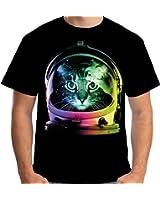 Velocitee Mens T-Shirt Space Cat Astronaut A19944
