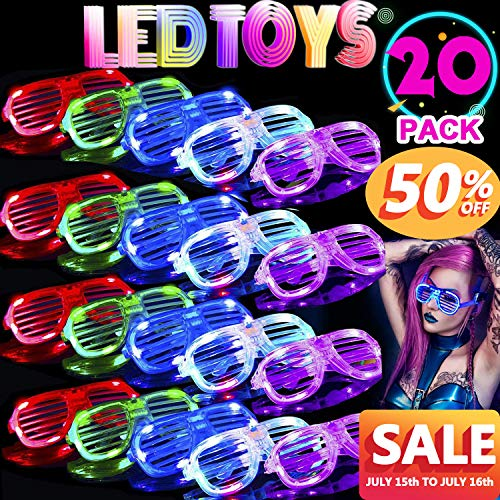 TURNMEON 20 Pack LED Glasses,5 Color Light Up Plastic Shutter Shades Glasses Led Sunglasses for Adults Kids Glow in The Dark Halloween Rave Party Favors Supplies Birthday Back to School Glow Toys]()