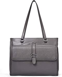 Genuine Leather Laptop Tote Bags for Women Large Briefcase Work Ladies Handbag Fits Up to 15.6 Inch gray