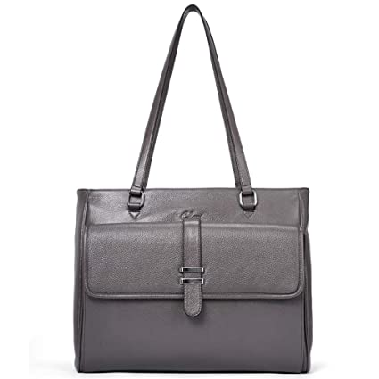 b47f02deb5 Image Unavailable. Image not available for. Color  Genuine Leather Laptop Tote  Bags for Women Large Briefcase ...