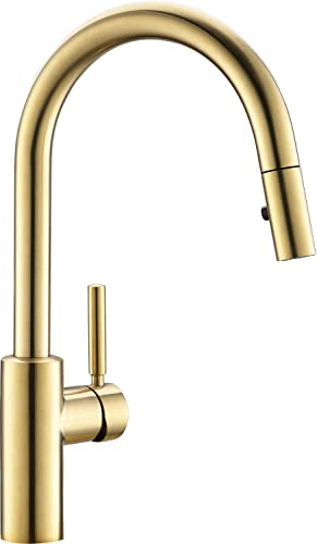 JUSTOPIN Luca Kitchen Faucet with Pull Down Sprayer, Modern Single Handle Pull Out Kitchen Sink Faucet, 1 or 3 Hole Mounted with Deckplate, ColdStart, Stainless Steel Brushed Gold ZPNAKF1BB