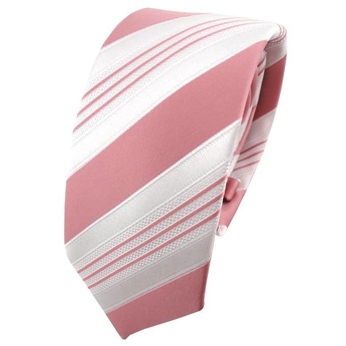 TigerTie - corbata estrecha - rosa viejo-rosa blanco plata rayas ...