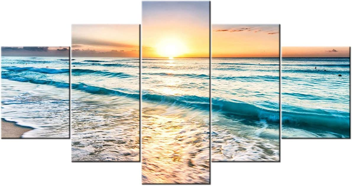 TUMOVO 5 Pieces Sea Waves in The Sunset Wall Art Sea Beach Modern Home Decor Seascape Wall Decoration for Living Room Giclee Artwork for Home Walls Stretched and Framed Ready to Hang (60Wx32H inches)