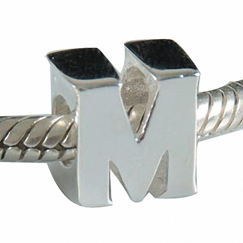 Hoobeads Authentic 925 Sterling Silver Letter Initial A-z Alphabet Beads Fits European Bracelet Charms(M)