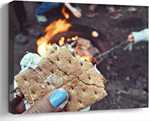 Amymami Wall Art Print Canvas Framed Artwork Home Decor(20x16 in)- SMore Food Snack Fire Cooking Outdoor Hand Blur