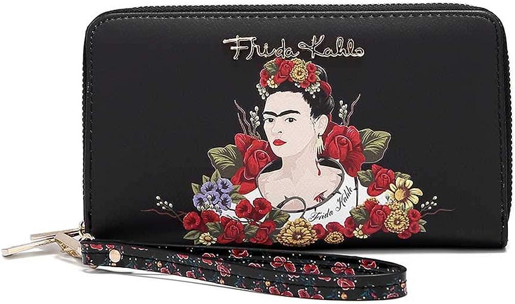 Frida Kahlo Flower Collection Around Zip Wallet with Wristlet