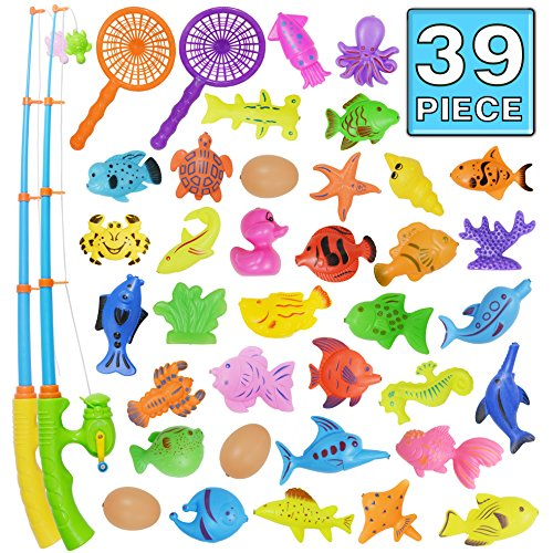 Bath Toy,39 Piece Magnetic Fishing Toy,Original Color Waterproof Floating Fishing Play Set in Bathtub Pool Bathtime Learning Education Toys For Boys Girls Toddlers,Fishing Game For Kids Party Favors -