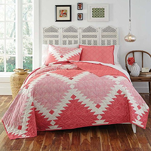KD Spain Kaleo Quilt Sham Set, Pink Coral, King by KD Spain
