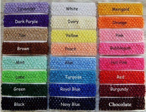 Baby Women Girl Crochet Elastic Hair Bands Headband Mixed Colors Pack of 24pcs By Catalina