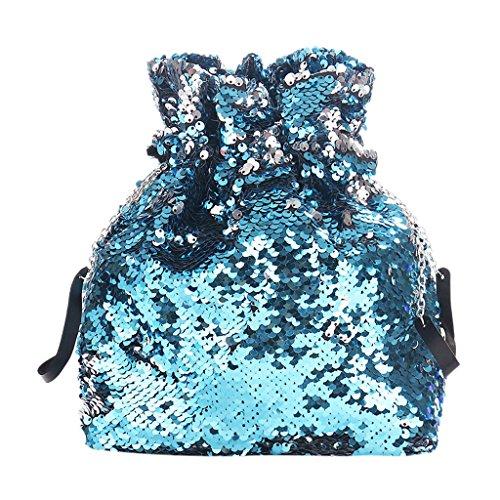 hombro al Silber para Bolso 25x8x24cm Cuigu Blau mujer 5pqEw