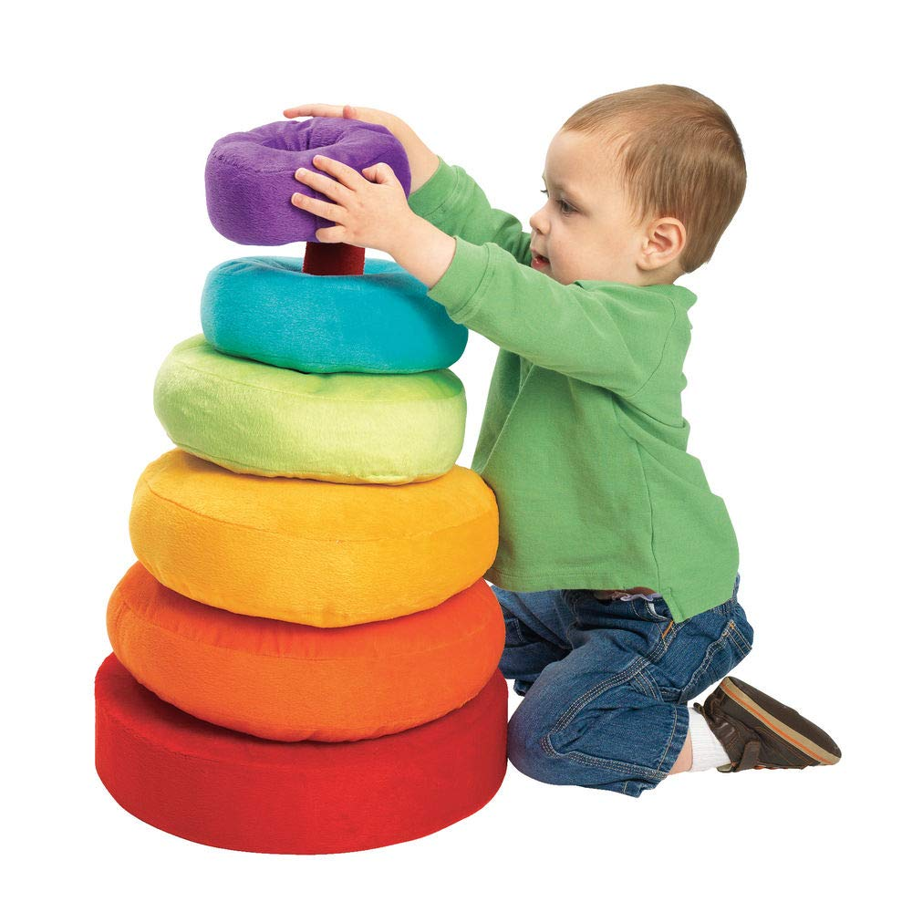 Excellerations Giant Plush Rainbow Stacking Ring for Kids Classroom Game for Children