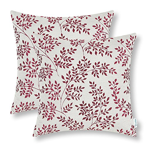 Pack of 2 CaliTime Throw Pillow Covers 18 X 18 Inches Both Sides, Small Leaves, Burgundy (Green And Burgundy Throw Pillows)