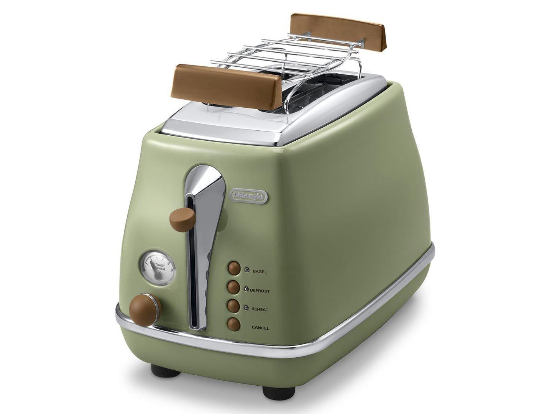 zwei schlitz toaster in gruen von de longhi