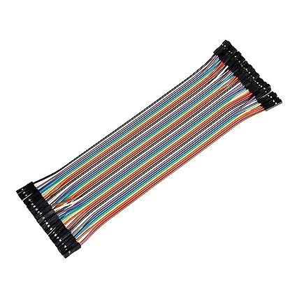 Ganvol 40 Piezas 20 cm Hembra a Hembra sin Soldadura Flexible Breadboard Jumper Cable de Alambre