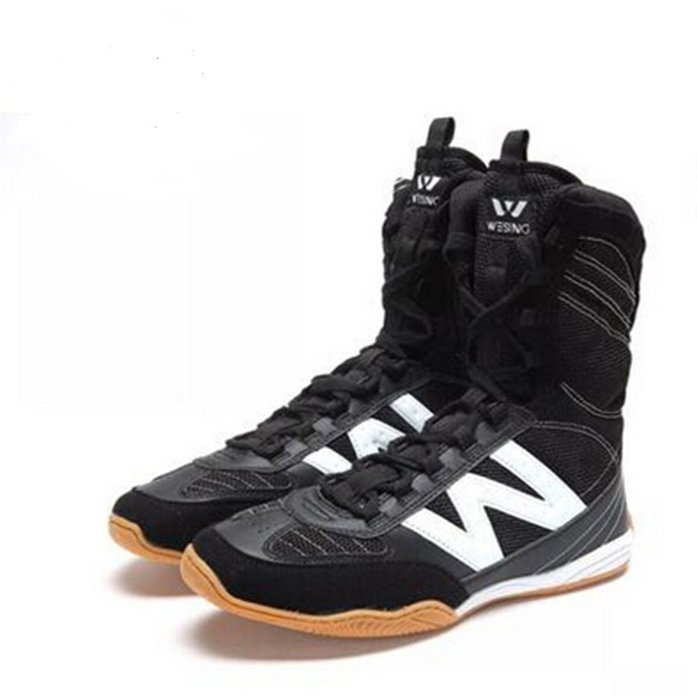 wesing Professional High Boxing Shoes Sports Training Shoes Pro Style Fighting Shoes with Non-Slip Breathable Gym Boots