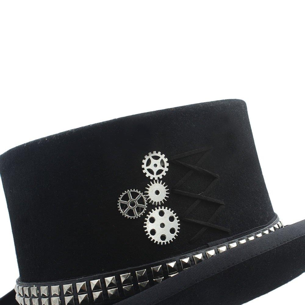 HXGAZXJQ Frauen Wen Fodora Steampunk Hut mit Nieten Nieten Nieten Getriebe Hut (Farbe : 1, Größe : 55 cm) 2d4af3
