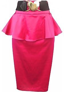 0ef4267b7857f9 New Ladies Glossy 1950's Pinup Rockabilly High Waist Peplum Pencil wiggle  skirt