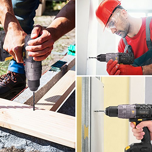 Combo Kit of TECCPO 20V Max TDHD01P Cordless Drill Driver 60Nm Max Torque, and TDID01P Impact Driver 180Nm Max Torque with 2x 2.0Ah Lithium-Ion Batteries, 30 Minute Fast Charger by TECCPO (Image #1)