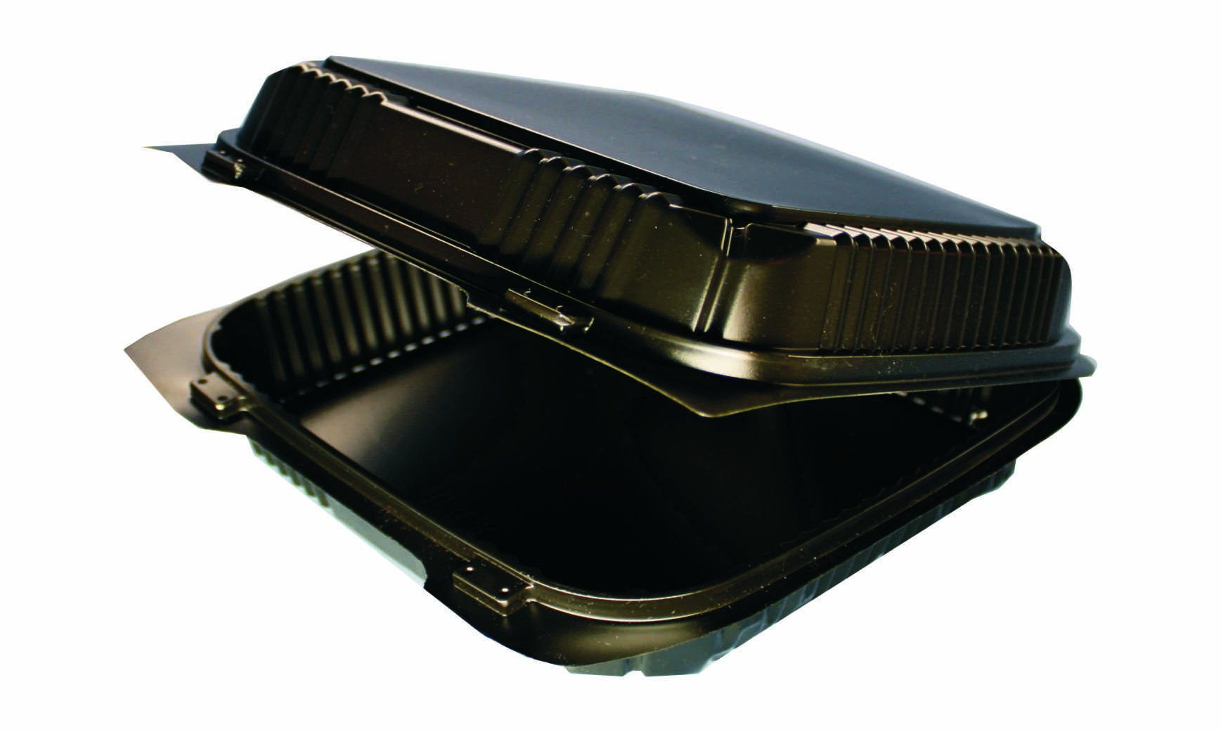 Choice-Pac L1H-1115-Blk Polypropylene Square Hot Clamshell Container with 2-Point Front Closure, 8-3/8'' Length x 8-1/4'' Width x 3'' Height, Large, Black (Case of 300)