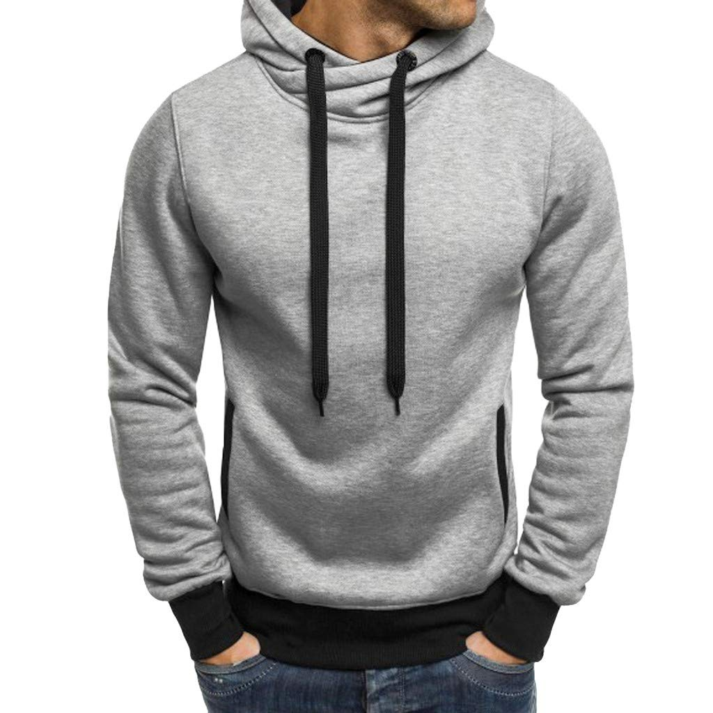 Sinzelimin Men Autumn Winter Long Sleeve Casual Sweatshirt Hoodies Solid Color Tracksuits Gray by Sinzelimin