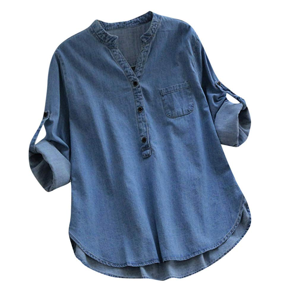 Pervobs Women's Solid Denim Long Sleeve Irregular Hem Buttons Pocket T-Shirt Tops
