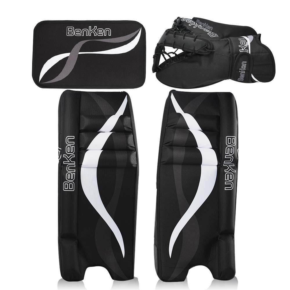 BenKen Sports Hockey Gear Goalie Pad Pack Ice Hockey Equipment Teenager &Adult Blue Black