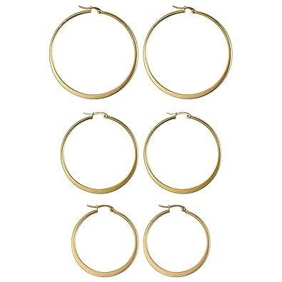 JewelryWe Pendientes de Aros para Mujer, Pendientes Dorados ...