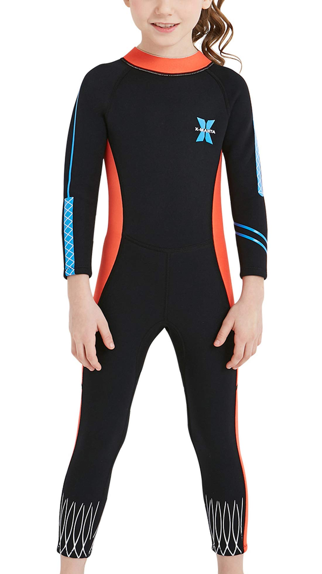 DIVE & SAIL Girls Warm Wetsuit One Piece Long Sleeve Full Wetsuit Thermal Swimsuits UPF 50+ Sun Protection Swimwear Black M