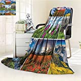 YOYI-HOME Digital Printing Duplex Printed Blanket Orchid Wellness Spa Fragrant Organic Herbal Oils Soaps Candles Relax Multi Summer Quilt Comforter /W47 x H79