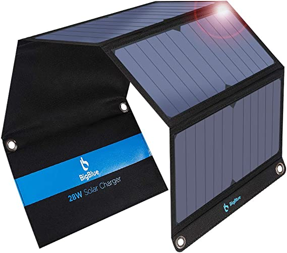 BigBlue 3 USB Ports 28W Solar Charger, 5V Foldable Waterproof Outdoor Solar Battery Charger With SunPower Solar Panel Compatible with iPhone X/8/7/6s, ...