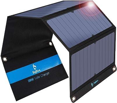 BigBlue 28W Cargador Solar Portátil, 2 Puertos USB y 4 Paneles Solares Impermeables con LCD Amperímetro Digital para Dispositivos USB Recargables, ...