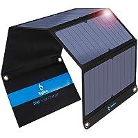 BigBlue 28W Cargador Solar Portátil, 2 Puertos USB y 4 Paneles Solares Impermeables con LCD Amperímetro Digital para Dispositivos USB Recargables, iPhone, Android, GoPro Etc