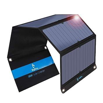 BigBlue 28W Cargador Panel Solar con 3 Puertos (2 USB y 1 USB-C), Placa Solar Impermeables con Type-C Puerto para Dispositivos USB, USB-C, iPhone, ...