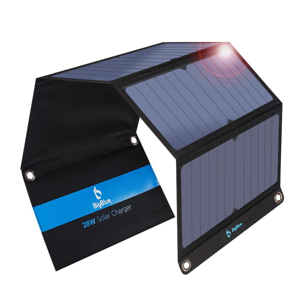 Type C Solar Charger, BigBlue 28W Solar Panel with 3 USB Ports (2 USB &1 Type C), Foldable Waterproof External Battery Pack Compatible with iPhone X/8/7/6s, iPad Pro/Air 2/Mini, Galaxy S8/S7/S6,LG