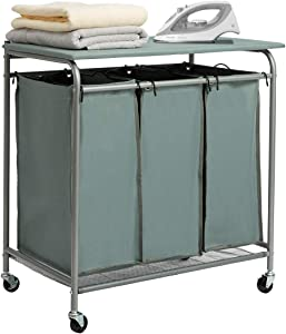 HollyHOME Laundry Sorter Cart with Foldable Ironing Board with Removable 3 Bags Laundry Hamper Sorter Blue Grey