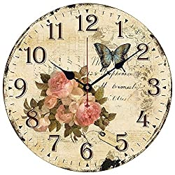 XHSP 14 Euramerican Retro Rustic Wooden Silent Wall Clock Butterfly Flowers Print Decorative Wall Clock Non-ticking Digital Clock