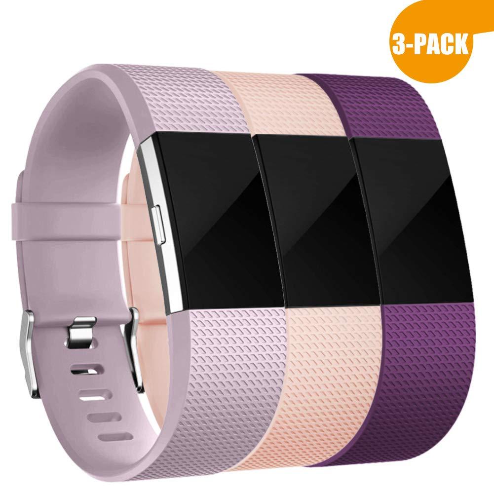 """Zekapu pour Fitbit Charge 2 Bracelet, Charge 2 Sport Remplacement Bracelet avec Boucle en Acier Inoxydable Classique pour Fitbit Charge2, Grand (6.7""""- 8.1) Petit (5.5""""- 6.7"""") 16 Couleurs product image"""
