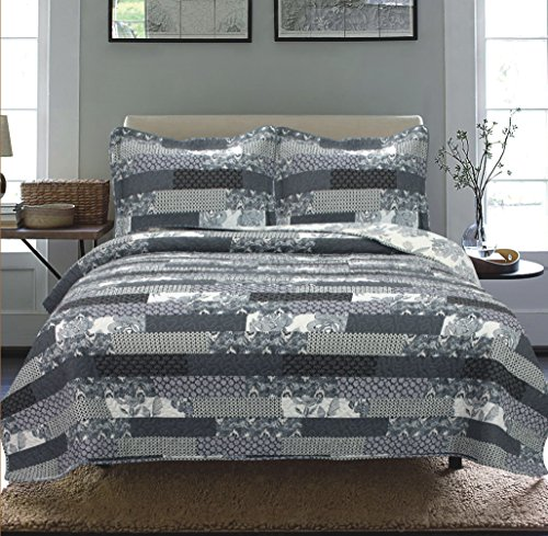 Sabrina Black Modern Bed (All American Collection New 3pc Printed Modern Floral Patchwork Bedspread Coverlet (Cal King))