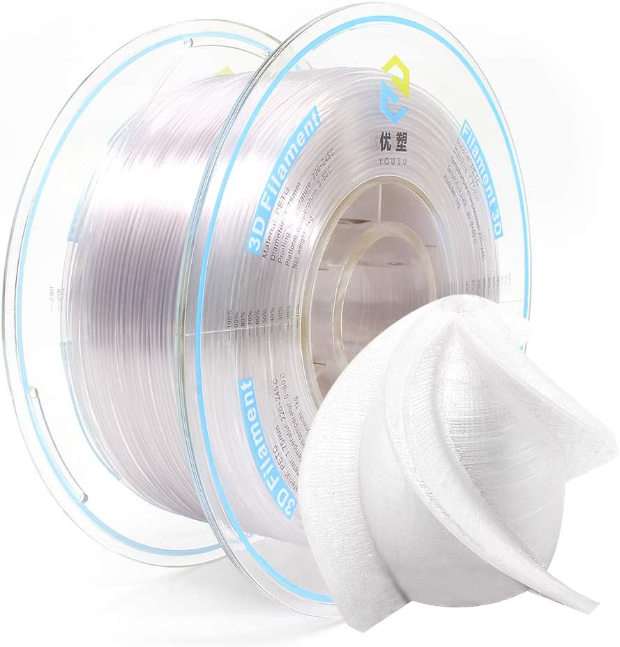 YOUSU Tangle Free PETG 3D Filament with Build Surface, Transparent, 1.75mm 1kg, Better Physical Strength and Layer bonding Performance. Compatible with Most of 3D Printer.